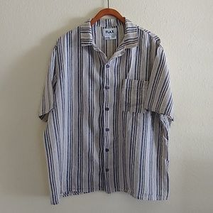 FLAX Striped Linen Buttonup